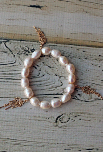Pearl Bracelet With Gold Chain Tassels