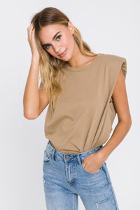 Padded Shoulder Taupe T-Shirt
