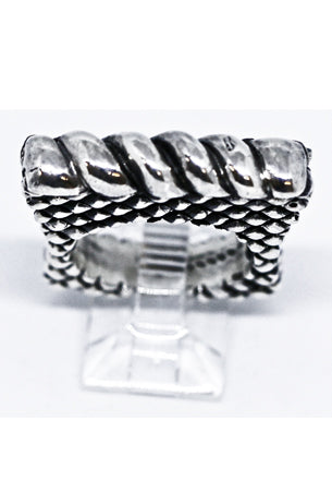 Silver Twist Bar Ring