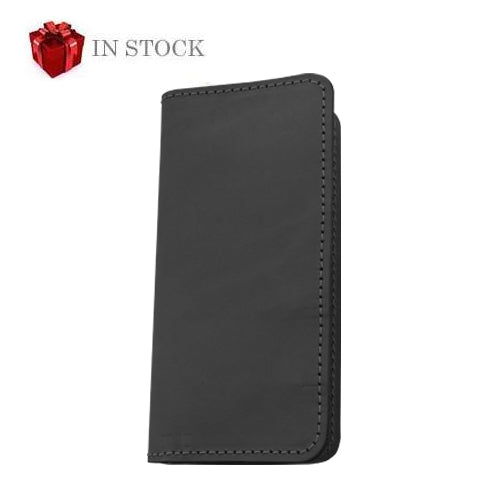 Wood Wallet - Black Leather