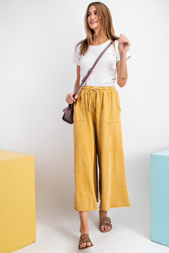 Mustard Terry Knit Wide Pants