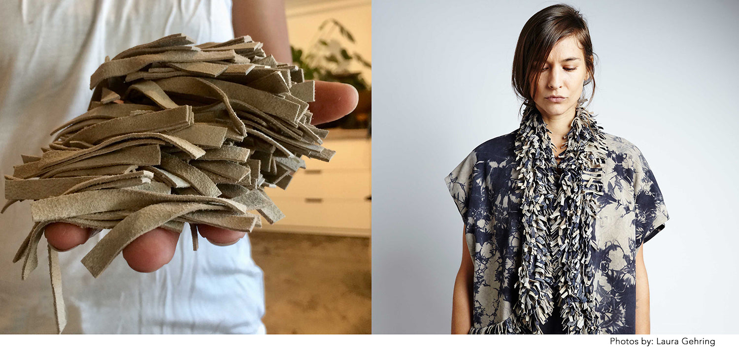 Leather suede remnants cut into small strips shown in makers hands shown with the finished bolero modeled on artist muse.