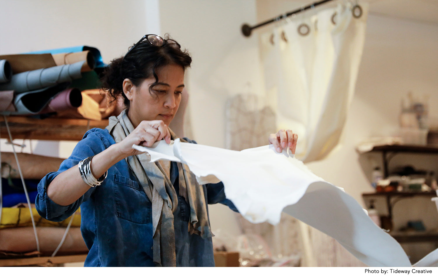 The artist working with leather in her Seattle studio.