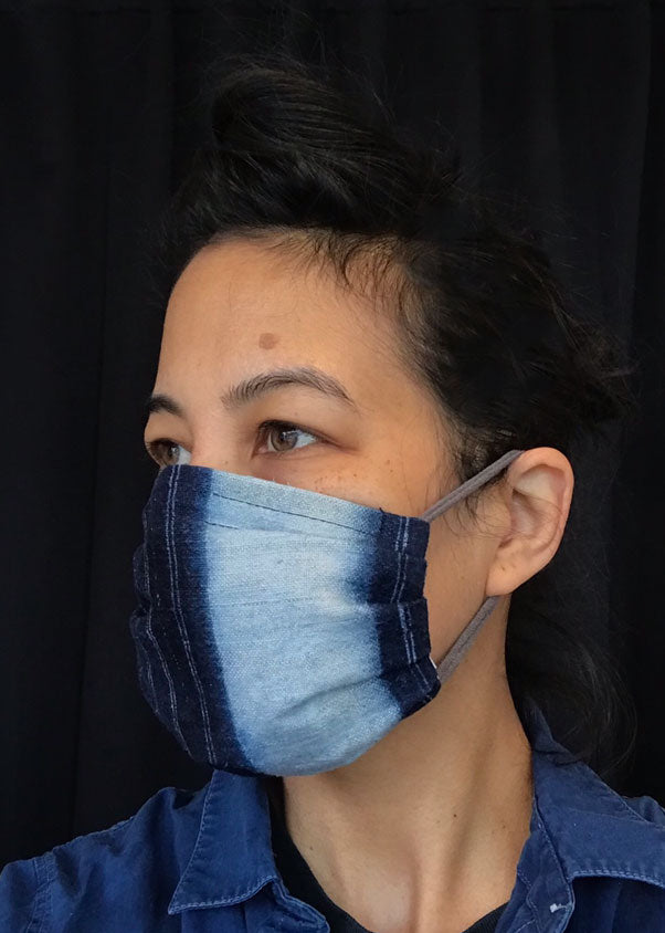 Mask with filter pocket<br>Vintage Indigo fabric