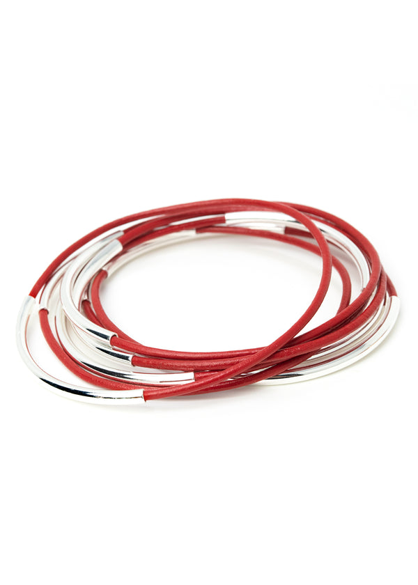 Skinny Bangles<br>Coral Red