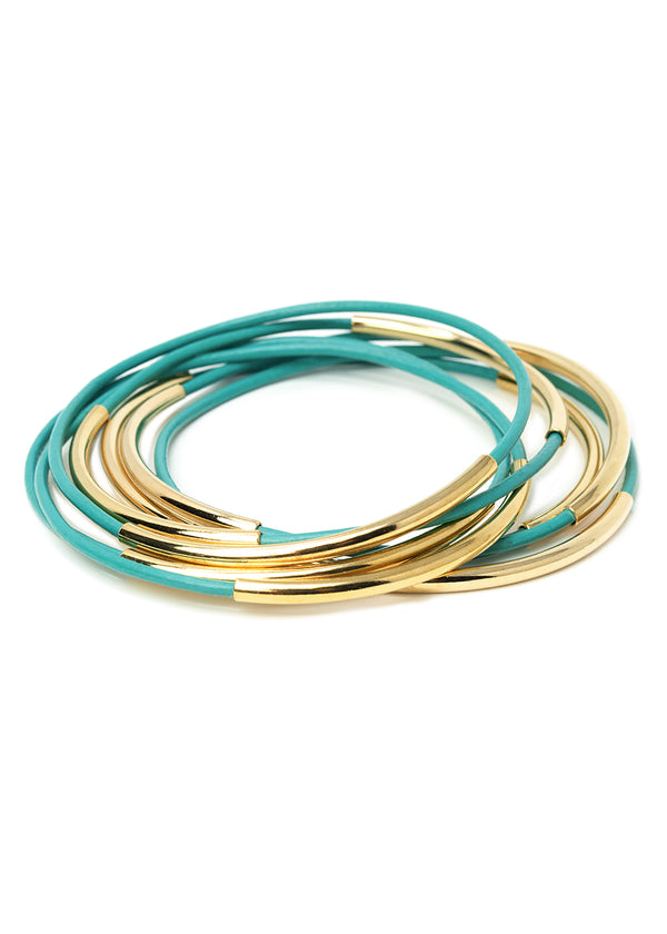 A stack of seven turquoise colored leather bracelets with gold beads.