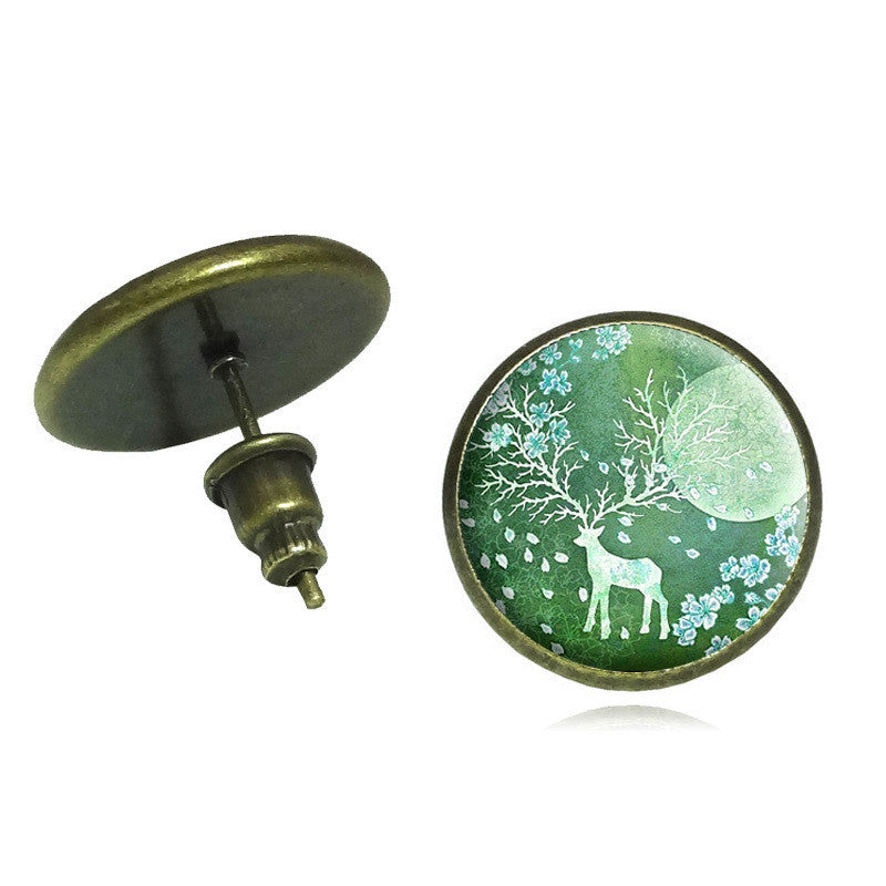 Deer Art Glass Cabochon Stud Earrings