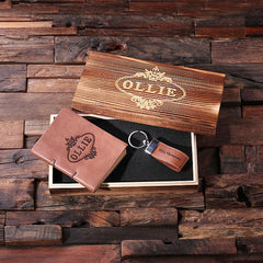 Personalised Gift Set with Journal and Leather Key Ring with Box