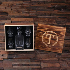 Personalised Global Lid Whiskey Decanter and 4 Whiskey Sniffer Gift Set