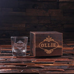 Personalised Whiskey Glass with Wood Gift Box