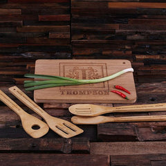 Personalised 4 Piece Wooden Utensils and Bamboo Cutting Board Set