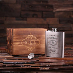 Mother's Day Gift - Personalised Stainless Steel Flask with Wood Gift Box - 530mL