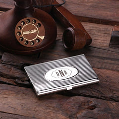 Personalised Stainless Steel Card Holder with Gift Box