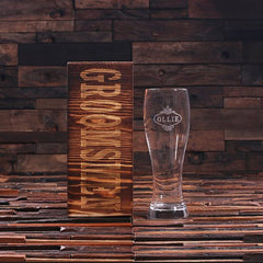 Personalised Beer Glass with Wood Gift Box