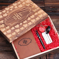 Personalised Valentine's Day Gift Set with Journal, Luggage Tag and Pen with Box