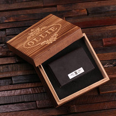 Personalised Leather Card Holder with Gift Box