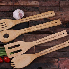 Mother's Day Gift - Personalised 4 Piece Wooden Utensils and Notebook Set