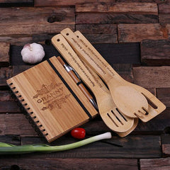 Father's Day Gift - Personalised 4 Piece Wooden Utensils and Notebook Set