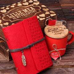 Personalised Valentine's Day Gift Set with Journal, Key Ring and Mug with Box