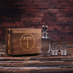 Personalised Global Lid Whiskey Decanter and 2 Whiskey Sniffer Gift Set