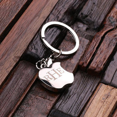 Personalised Stainless Steel Apple Key Ring with Gift Box