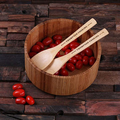 Personalised Bamboo Salad Bowl and Utensils