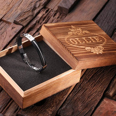 Personalised Leather & Stainless Steel Bracelet with Christian Motif  - Black with Wood Box