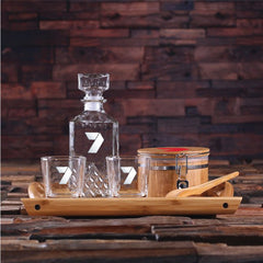 Personalised Whiskey Decanter Set with Ice Bucket and Tongs, Whiskey Glasses and Wood Tray - Corporate