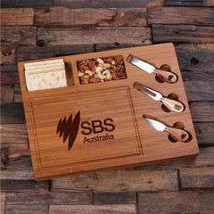 Personalised Bread and Cheese Board with Utensils - Corporate