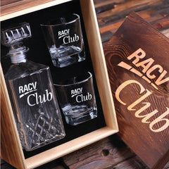 Personalised Whiskey Decanter and 2 Glass Gift Set - Corporate