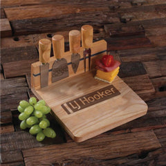 Personalised Square Bread and Cheese Board with Utensils - Corporate