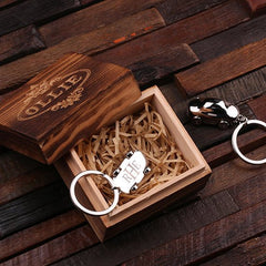 Personalised Stainless Steel Car Key Ring with Gift Box