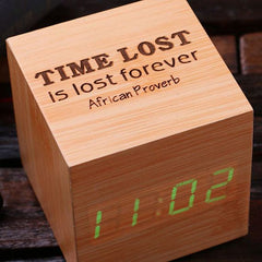 Personalised Digital Wood Clock - Cube