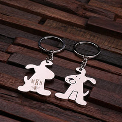 Personalised Stainless Steel Dog Key Ring with Gift Box