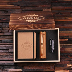 Personalised Gift Set with Pen Set, Journal and Swiss Army Knife with Box