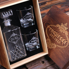 Personalised Whiskey Decanter and 2 Glass Gift Set