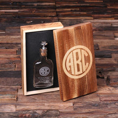 Personalised Vintage Style Flask with Wood Gift Box - 150mL