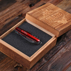 Personalised Utility Pocket Knife with Wood Gift Box - Red