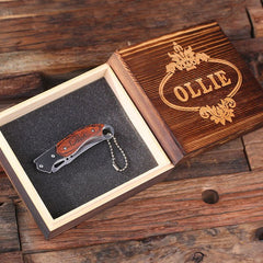 Personalised Key Chain Pocket Knife with Wood Gift Box