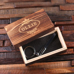 Personalised Thin Leather Strap Key Ring with Gift Box