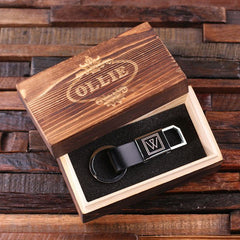 Personalised Leather Adjustable Clasp Key Ring with Gift Box