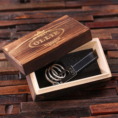 Personalised Leather Three Loop Key Ring with Gift Box