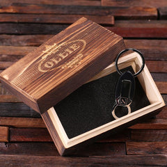 Personalised Leather Double Loop Key Ring with Gift Box