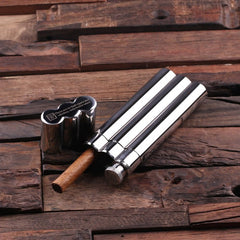 Personalised Stainless Steel Cigar Holder with Whiskey Flask & Wood Box