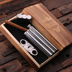 Personalised Stainless Steel Whiskey Flask Cigar Holder and Cigar Cutter Gift Set