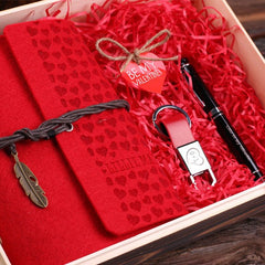 Personalised Valentine's Day Gift Set with Journal, Key Ring and Pen with Box