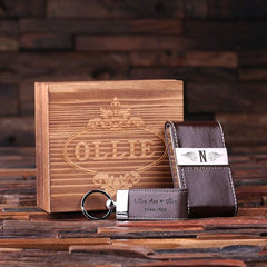 Personalised Gift Set with Card Holder and Key Ring with Box