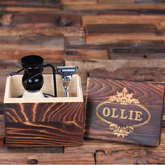 Personalised Shaving Kit with Wood Gift Box