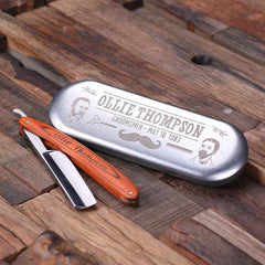 Personalised Straight Razor Blade with Tin