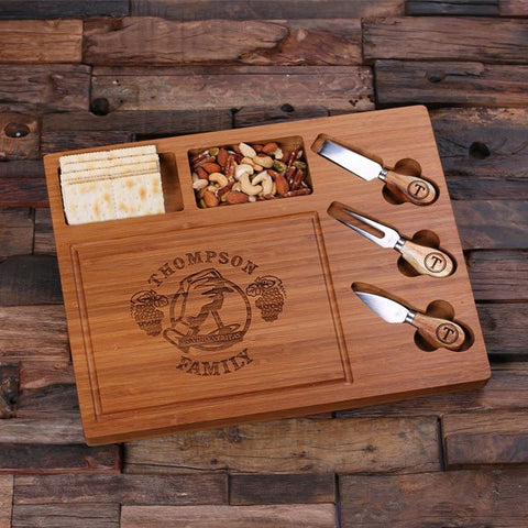 Personalised Round Bread and Cheese Board with Utensils A - Corporate